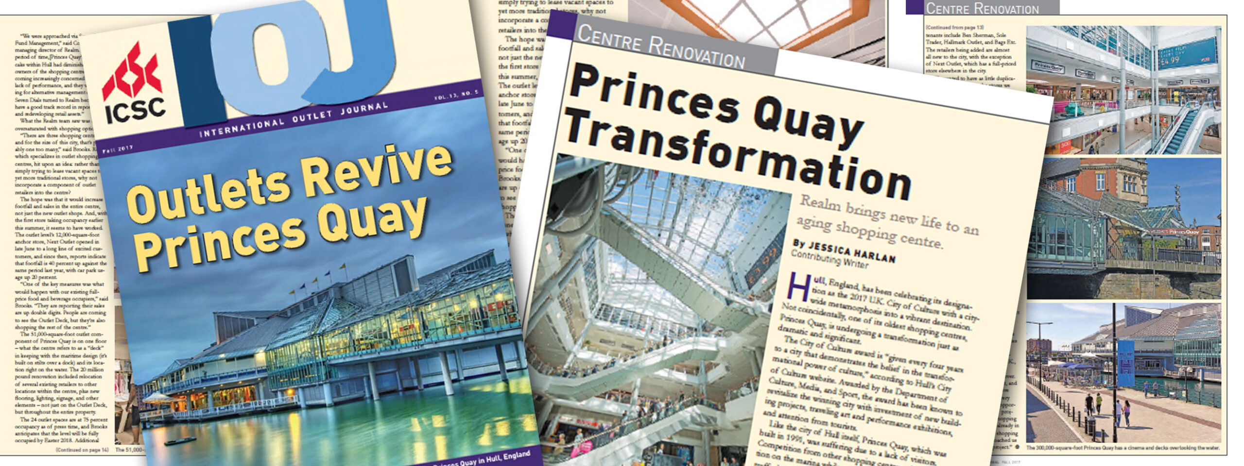 Princes Quay features as the cover story in the International Outlet Journal Banner
