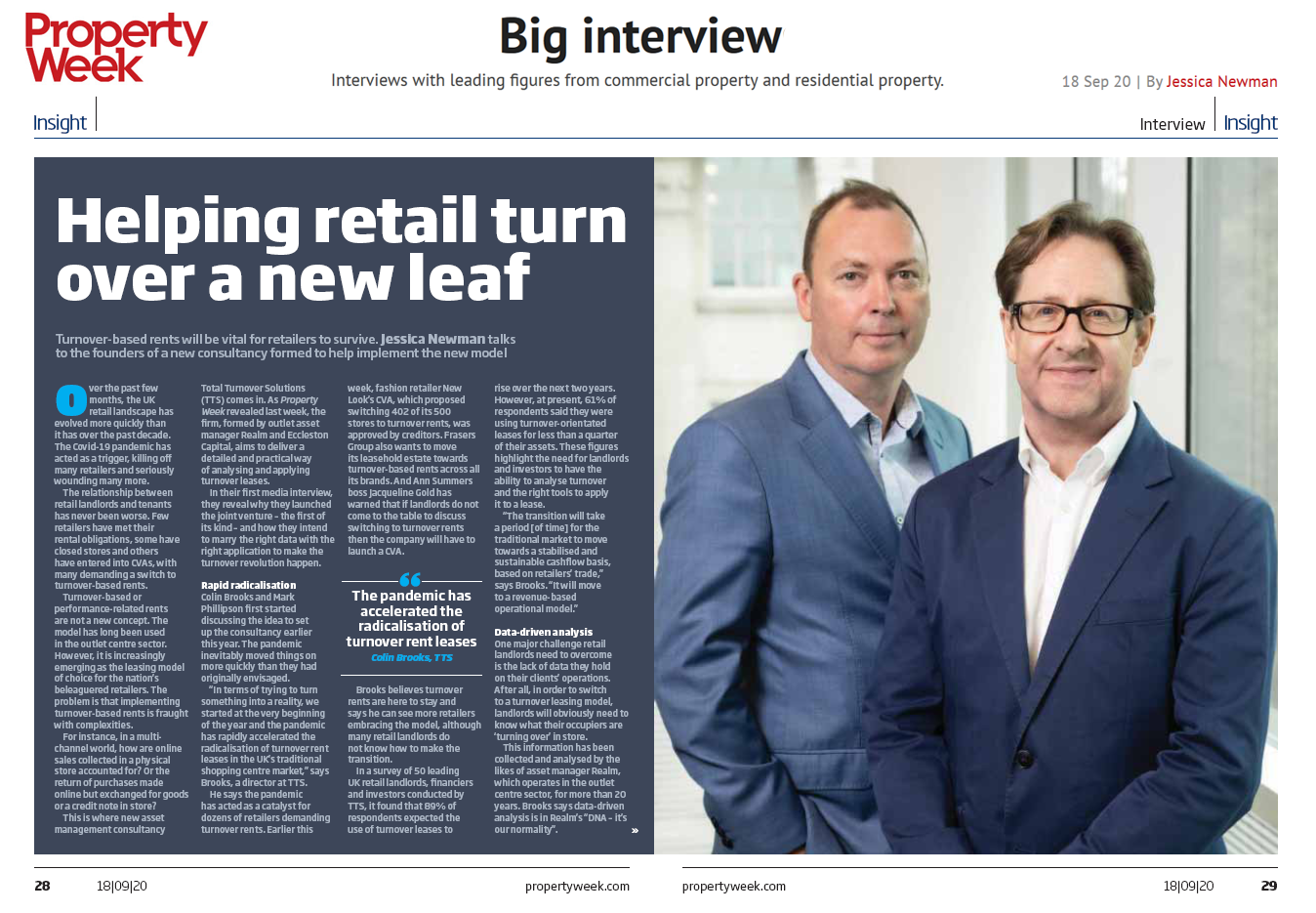 Total Turnover Solutions in Property Week big interview Banner